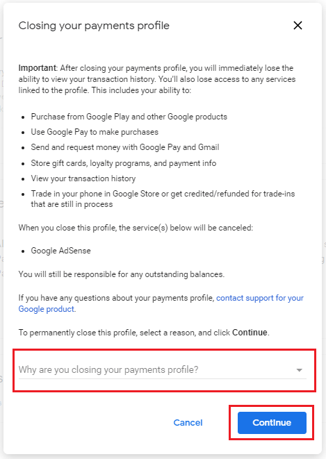 Google Adsense Account Delete