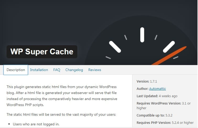 free plugin WP Super Cache